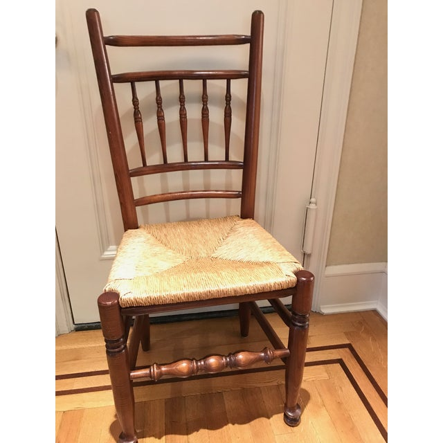 English Spindle Back Chairs With Rush Seats and Turned Legs - Set of ...