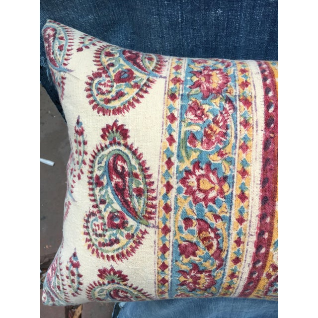 1970's Indian Hand-Blocked Textile Pillow For Sale In Los Angeles - Image 6 of 7