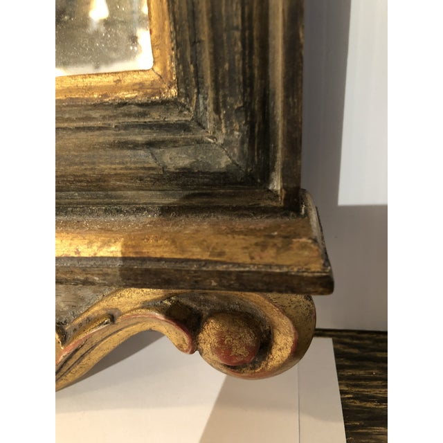 Italian Mirror in Wood Carved Frame With Gesso Accents For Sale - Image 4 of 5