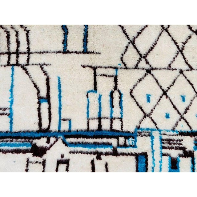 Textile Authentic Berber Morocco Wool Beni Ourain Hand Knotted Rug For Sale - Image 7 of 11