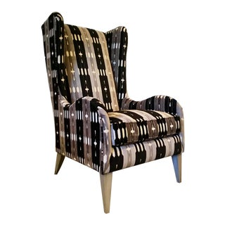 Caracole Modern Gray and Black Cut Velvet Wingback Chair For Sale