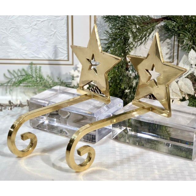 Late 20th Century Vintage Brass Christmas Holiday Star Stocking Hooks - Set of 2 For Sale - Image 5 of 13