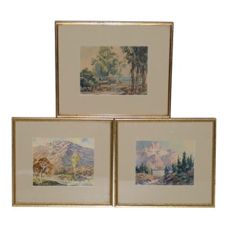 Ernest Tonk (American, 1889-1968) American West Scenes Watercolor Paintings C.1940s- Set of 3 For Sale