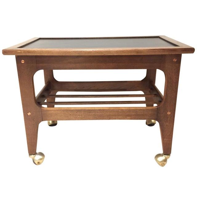 Walnut & Brass Mid-Century Bar Cart - Image 1 of 8