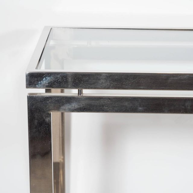 Milo Baughman Mid-Century Modernist Chrome and Glass Console or Sofa Table by Milo Baughman For Sale - Image 4 of 7