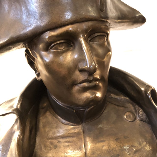 19th Century Cast Bronze Bust of Napoleon on Green Marble Plinth and Signed by the Artist Raphael Nannini. Unlike many...