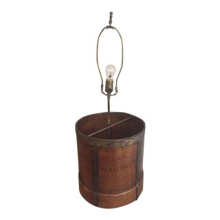 Antique Rustic Measuring Bucket Table Lamp For Sale