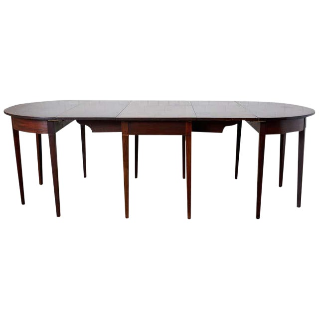 English Hepplewhite Mahogany Dining Table With Demilunes For Sale