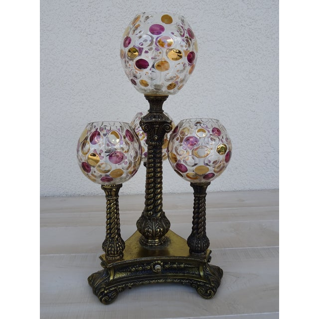 Vintage L&l Wmc Pink and Gold Four Glass Globe Lamp Mid-Century Modern For Sale - Image 11 of 11