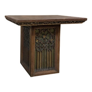 19th Century Gothic Hand Carved and Painted Pedestal For Sale