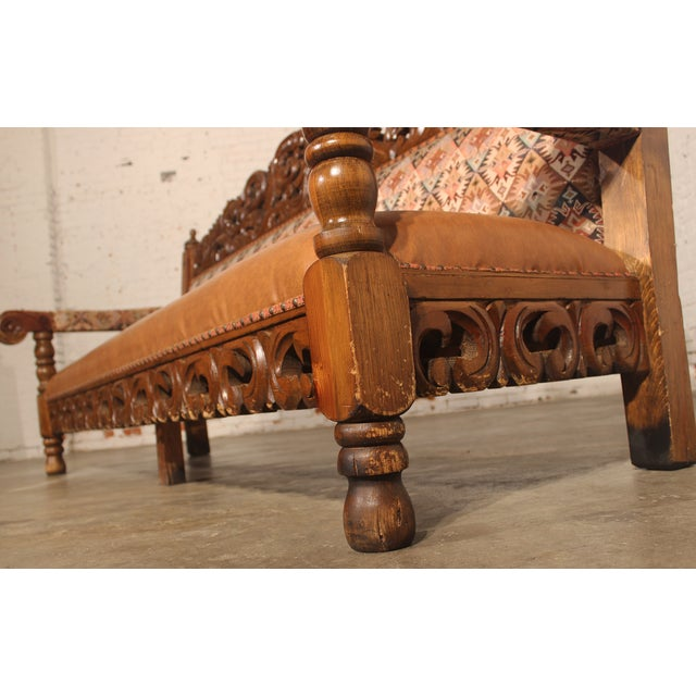 Spanish Carved Pine Bench - Image 8 of 10