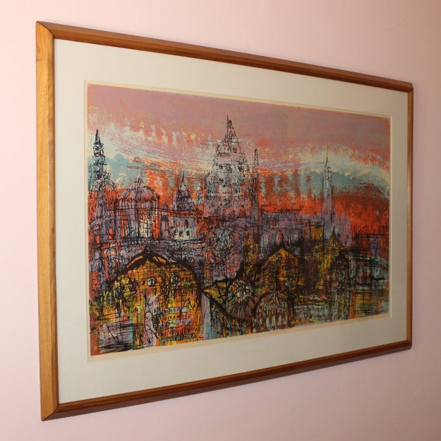 Authentic serigraph from California artist Dorothy Bowman. Featuring her signature layered serigraph work of a cityscape...