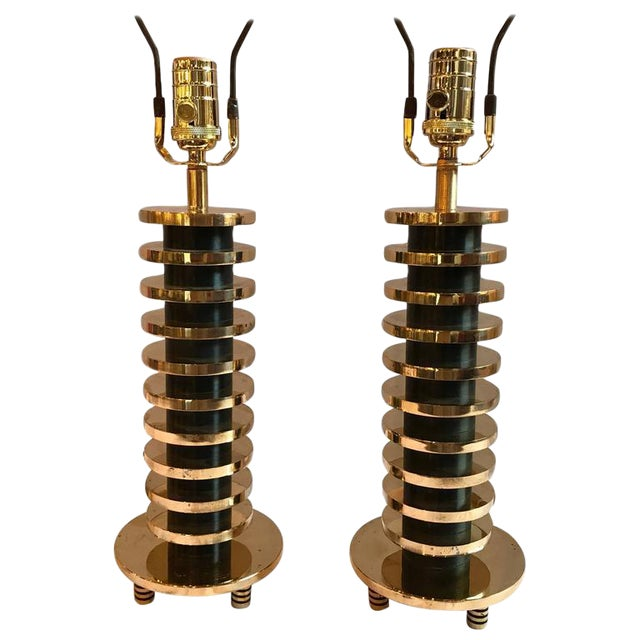 Brass and Metal Disk Shaped Mid-Century Modern Table Lamps - A Pair For Sale - Image 11 of 11