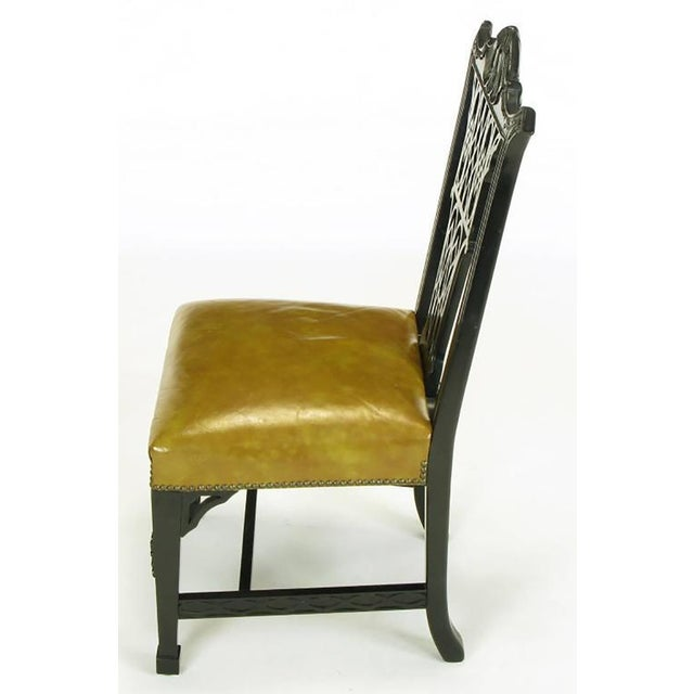 Century Furniture Eight Chinese Chippendale Ebonized Mahogany Dining Chairs with Leather Seats For Sale - Image 4 of 10