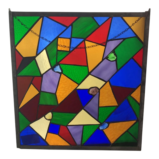 Square Rainbow Stained Glass For Sale