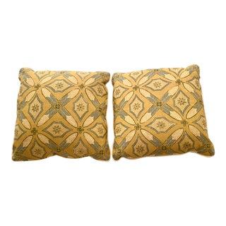 "Custom Pillows in Kathryn M Ireland ""Graham"" Designer Fabric - A Pair For Sale"
