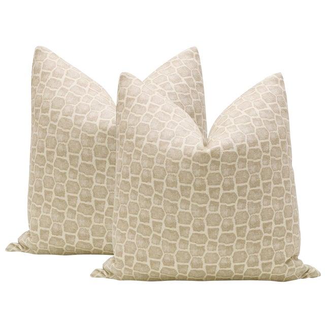 """22"""" Safari Print Pillows - a Pair For Sale"""