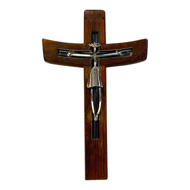 Mid-Century Modern Taxco Sterling and Mahogany Crucifix For Sale