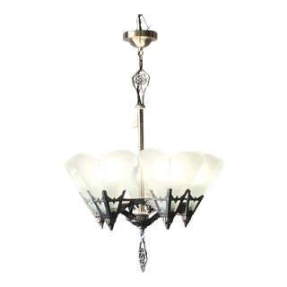 1930s Art Deco Chandelier With Flat Glass Panels For Sale
