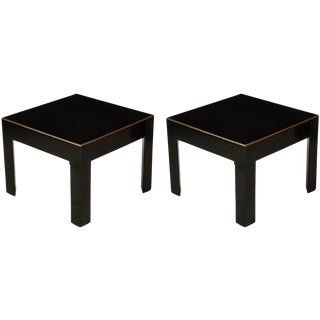 Ebonized Tables With Brass Banding - a Pair For Sale