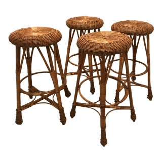 1960s Mid-Century Modern Rattan Bar Stools - Set of 4