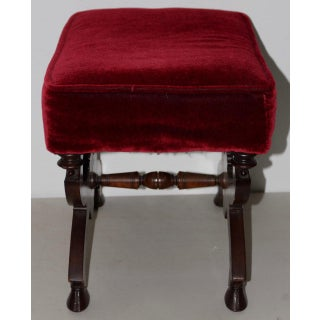 19th C. Carved Mahogany Bench W/ Beautiful Dark Red Upholstery Preview