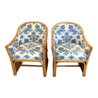 Vintage Bamboo Barrel Shaped Club Chairs With Schumacher Upholstery - a Pair For Sale