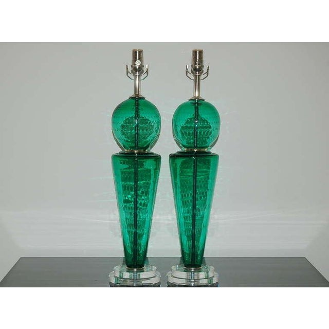 A whimsical pair of two-piece Venetian glass table lamps in JADE GREEN. The clarity of the glass and controlled bubbles...