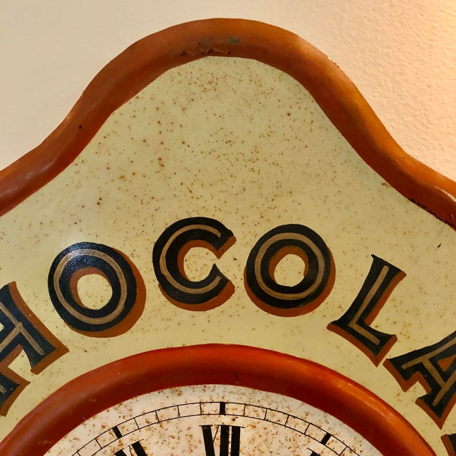 French Vintage Tolework Chocolate Revillon Clock For Sale - Image 3 of 10