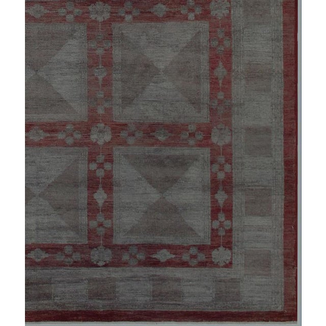 Over Dyed Color Reform Loni Lt. Gray Wool Rug - 7'9 X 9'11 A3357 For Sale - Image 4 of 7