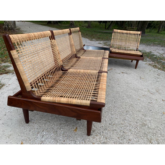 Hans Olsen for Bramin Mid-Century Modern Scandinavian Modular Bench Sofa and Loveseat-A Pair For Sale In West Palm - Image 6 of 13