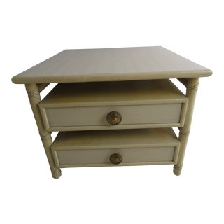 1990s Mid-Century Modern McGuire Two-Drawer End or Bedside Table For Sale