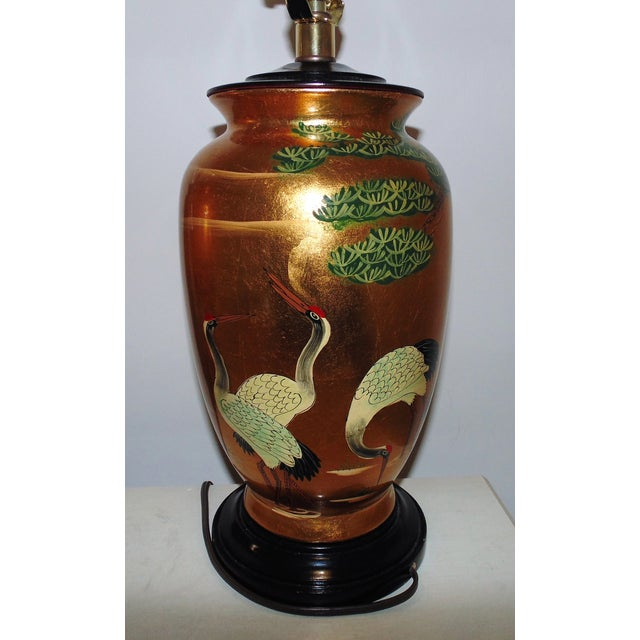 2000 - 2009 Vintage Chinoiserie Gold Table Lamps W/ Birds Herons - a Pair For Sale - Image 5 of 9