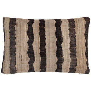 Indian Handwoven Pillow Ocean Strip Charcoal For Sale