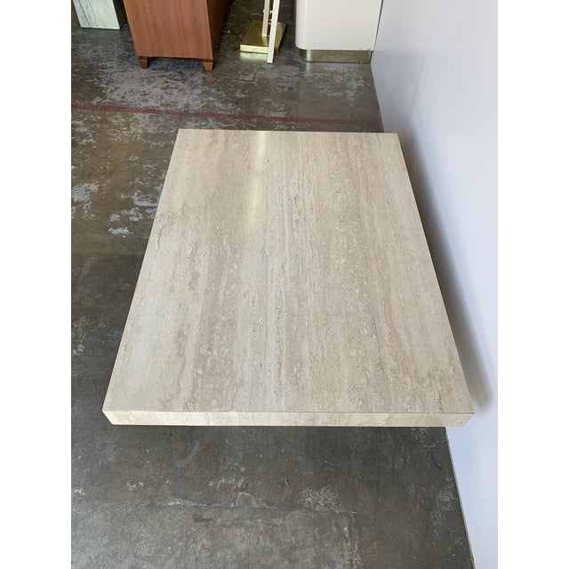 Faux Travertine and Brass Coffee Table For Sale In Los Angeles - Image 6 of 12