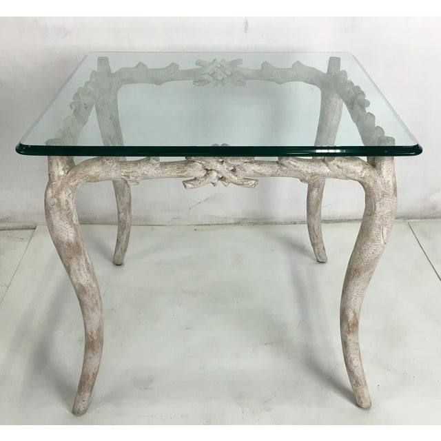 Gorgeous concrete faux bois table with tempered glass top with wonderful aged painted finish.