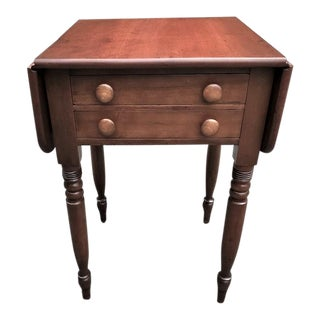 Antique Early 19th Century Federal Period Cherry 2 Drawer Dropleaf Stand or Work Table For Sale