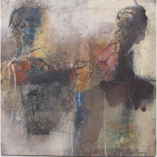 Late 20th Century Harouna Ouedraogo African Abstract Figural Mixed Media Painting For Sale