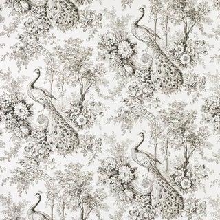 Suzanne Tucker Home Peacock Toile Print Fabric in Sepia