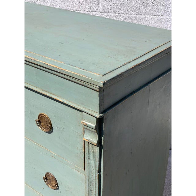Directoire Style Dresser in old blue paint, not original and brass hardware.