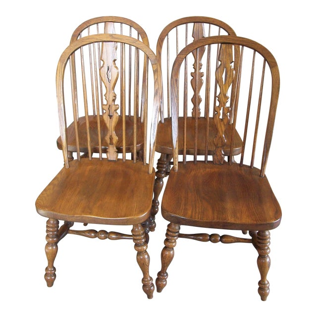 Ethan Allen Royal Charter Bowback Windsor Dining Chairs - Set of 4 - Image 1 of 7