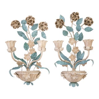 Mid-Century Italian Tole Flower Wall Candle Sconces, a Pair For Sale