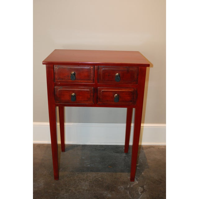 Chinese red nightstands a pair chairish for 0co om cca 9 source table