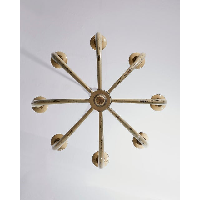 1940s Guglielmo Ulrich Eight Branch Original Cream Painted Chandelier For Sale - Image 5 of 6