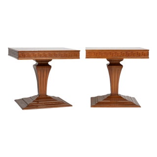 Mid Century Side Tables With Greek Key Detail - a Pair For Sale
