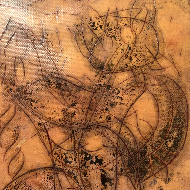 Abstract Original Vintage Peter Duncan Nude Abstract Encaustic Painting For Sale - Image 3 of 5