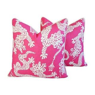 Designer Lee Jofa Lilly Pulitzer Dragon Tail Lights Pink/White Pillows - Pair