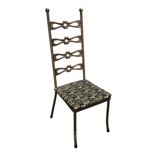 1950s Vintage Italian Metal Gilded Chair For Sale