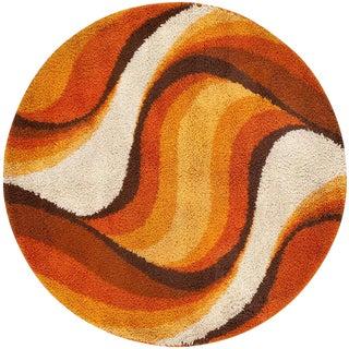 Vintage Swedish Deco Round Rug by Verner Panton - 4′1″ × 4′1″ For Sale