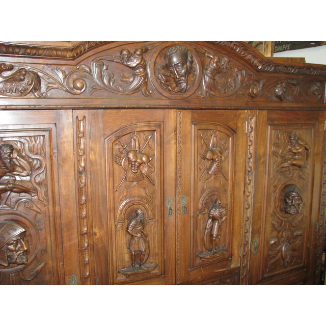 Antique Hand-Carved Italian Revival Armoire - Image 6 of 10